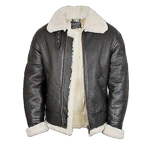 18b9fcb9d Men's Russian Flight Aviator Genuine Sheep Skin Leather Jacket at ...