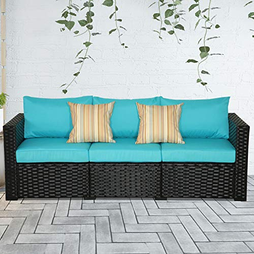3-Seat Patio Wicker Couch - Outdoor Rattan Sofa Furniture w/Steel Frame and Turquoise Cushion