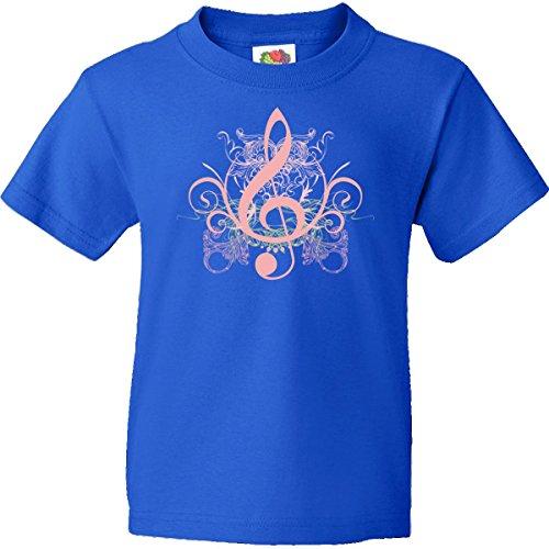 Inktastic Big Girls' Music Treble Clef Pink Logo Youth T-Shirt Youth Medium (10-12) Royal Blue