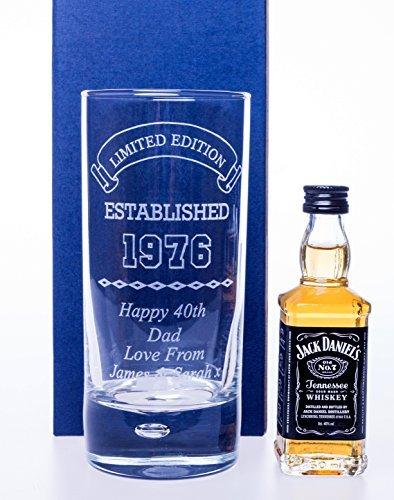 Engraved//Personalised *Established Birthday Design* Bubble Based Highball Glass /& Miniature Bottle of Jack Daniels