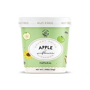 Mylk Labs Gluten Free Instant Oatmeal Cup, Nut Free Granny Smith Apple & Sunflower Cinnamon - Vegan, Low Sugar, Non-GMO, Kosher - 6 Pk