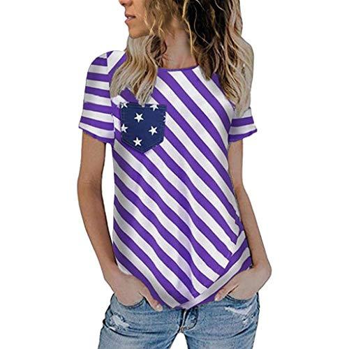 (RAINED-Womens American Flag T Shirt 4th July Patriotic USA Flag Tee Shirts Stripe Stars Tops Casual Tee Shirt Tunic Tops Purple)