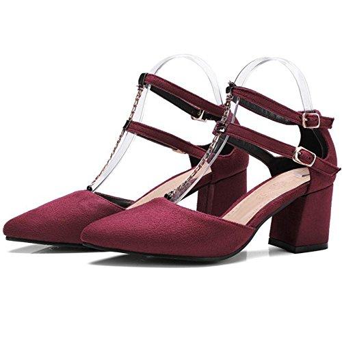 Schuhe TAOFFEN Blockabsatz Sandalen Claret Damenmode qwvPO1