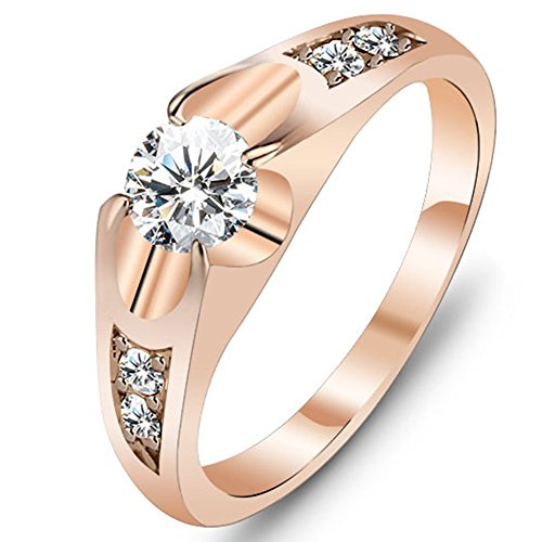 Rose Puzzle Ring (Womens Shiny Cut Cubic Zirconia CZ Rose Gold Ring Prong Set Engagement Wedding Lady Finger Bride Band)