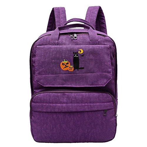 Halloween Cat With Pumpkins Backpack For Women,Girls Recreation Packsack