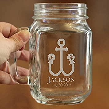 amazon com personalized mason jar mug 16 oz anchor engraved mason