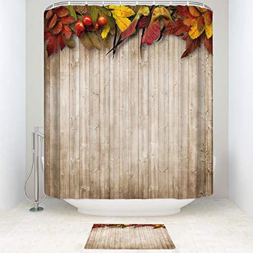 BEISICC Creative Shower Curtain 2 Piece Set Fall Decor Autumn Leaves and Berries Border Bathroom Accessories Contain:Carpet - Shower Curtain Hooks - Shower Curtain 72W72Lin/15.723.6in