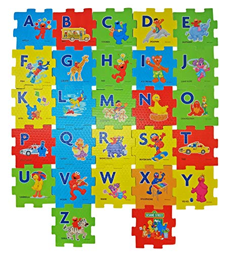 Sesame Street Alphabet Foam Floor Puzzle. Plus Free Bonus Reward Stickers and 1 Box of Sesame Street Flash Cards (Design May Vary).