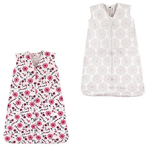 Hudson Baby Safe Sleep Wearable Sleeping Bag Jersey Cotton, 2 Pack, Modern Floral/Botanical, 0-6 Months