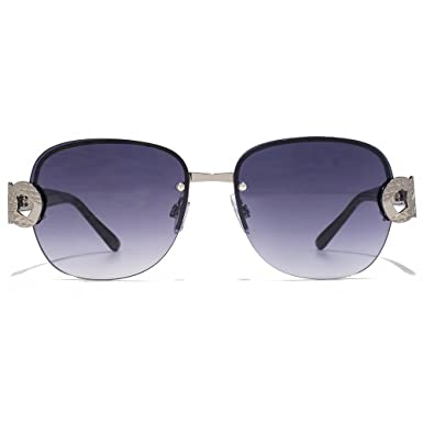 938de4367b7 Carvela Metal Link Temple Rimless Sunglasses in Light Gunmetal Nude CAR024   Amazon.co.uk  Clothing