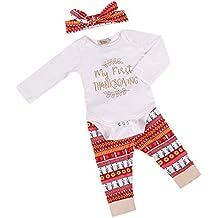 VIEWIM 3Pcs Newborn Baby Girl Thanksgiving Romper Bodysuit Pant Headband Outfits