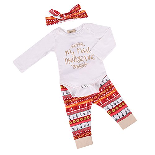 VIEWIM 3Pcs Newborn Baby Girl Thanksgiving Romper Bodysuit Pant Headband (Baby Thanksgiving Outfits)