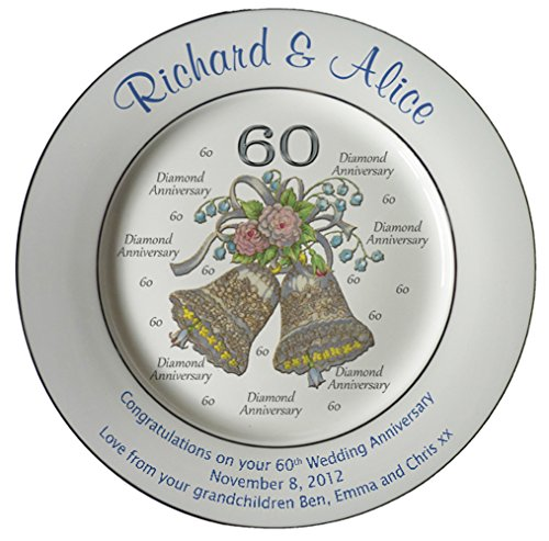 Heritage Pottery Personalized Bone China Commemorative Plate for A 60th Wedding Anniversary - Wedding Bells Design with 2 Silver Bands