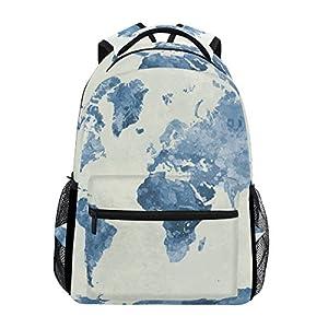 TIZORAX Watercolor Blue World Map Mochila Escolar Estantería Senderismo Viaje Mochila
