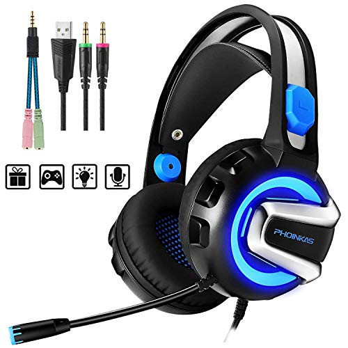 - PHOINIKAS H4 Stereo Gaming Headset for PC, PS4, Laptop, Xbox One, Nintendo Switch Games,with Mic,LED Light Splitter,Free Adapter,Volume Control Headphones to 3.5mm,Soft Memory Earmuffs (Blue)
