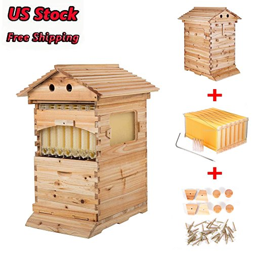 Beekeeping Wooden House Beehive Boxes - Max 7Pcs Auto Flow Beehive Frame Comb - Bee Hive Boxes - for Beekeepers Food Grade BPA - Updated Auto Honey Bee Hive Frames Cedarwood Beekeeping Brood House Box