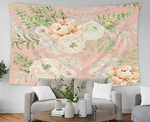 Asdecmoly Tapestry Printing Wall Hanging Tapestries for Living Room and Bteedroom 80 L x60 W Inches Blush Apricot Spring Bouquets The Pink Background Watercolor Patrn Delicate Art Printing Inhouse