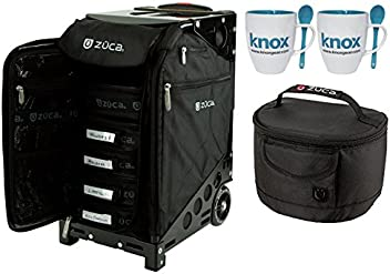 ZUCA Black Pro Artist Rolling Suitcase with Black Frame & Gift Matching Lunchbox and Set of