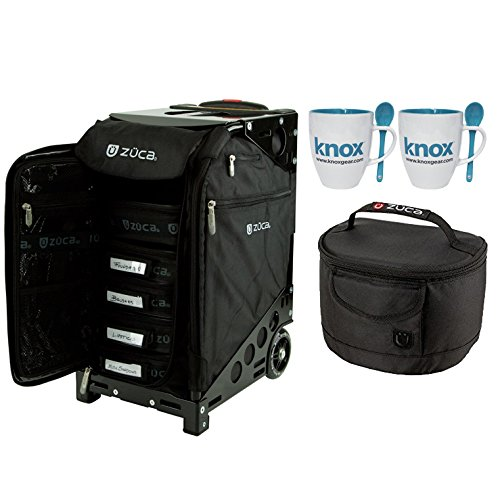 ZUCA Black Pro Artist Rolling Suitcase with Black Frame & Gift Matching Lunchbox and Set of 2 Coffee ()