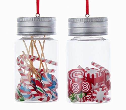 Kurt Adler 1 Set 2 Assorted Candy Jar Peppermints And Assorted Candy Christmas Ornaments