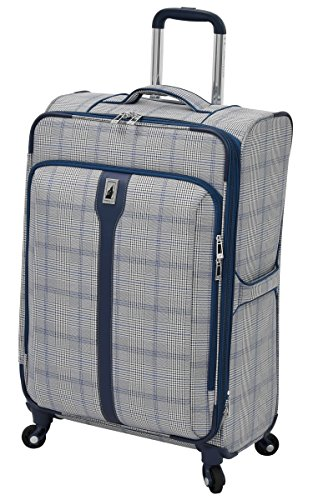London Fog Knightsbridge 25' Expandable Spinner, Grey/Navy Plaid