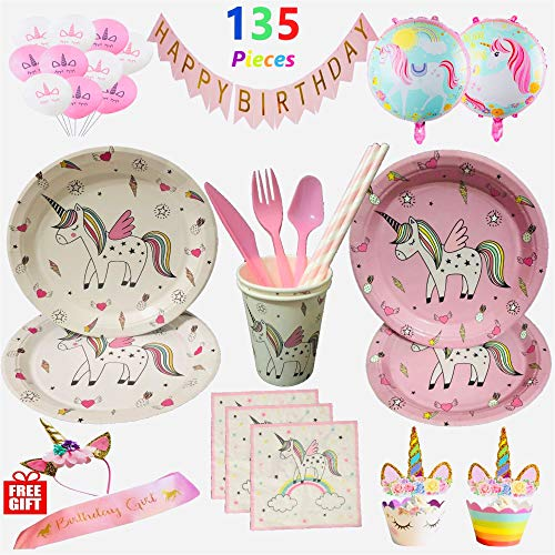 Unicorn Party Supplies Set Rainbow Birthday Decorations - Disposable Tableware Serve 12, Balloons, Cupcake Wrappers Toppers, Happy Birthday Banner,BONUS Headband and Sash for Girls,15 Types 135 Pieces