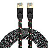 Cat 7 Ethernet Cable 50 ft - SNANSHI Nylon Braided Cat7 Flat Internet Network LAN Patch Cable SSTP Shielded Gold Plated Ethernet Network Patch Cable for Modem, Router, Printer, Computer, PS4, Xobx (Color: Black 50ft, Tamaño: 50 feet)