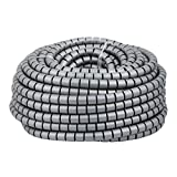uxcell 20mm x 30m Flexible Spiral Tube Cable Wire Wrap Computer Manage Cable Gray