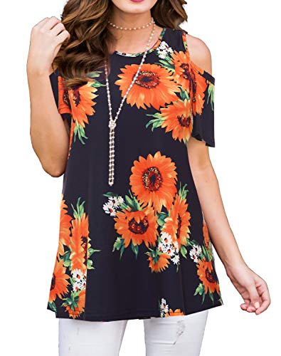 PrinStory Women's Short Sleeve Casual Cold Shoulder Tunic Tops Loose Blouse Shirts Floral Print Sunflower Black ()