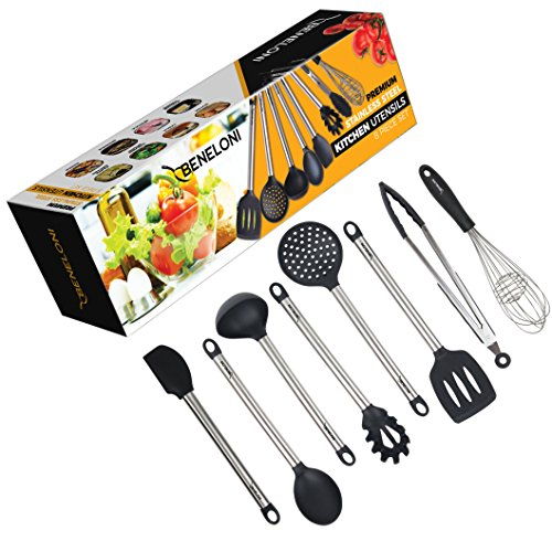 8 Piece Kitchen Utensil Set - Stainless Steel Metal and Black Silicone Serving Utensils Including Tongs Spoons Spatula Ladle Whisk and Frosting Spatula Professional Nonstick Safe Modern Cooking (Black Whisk)