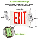 Red Exit Sign, 120-277V Double Face LED Combo