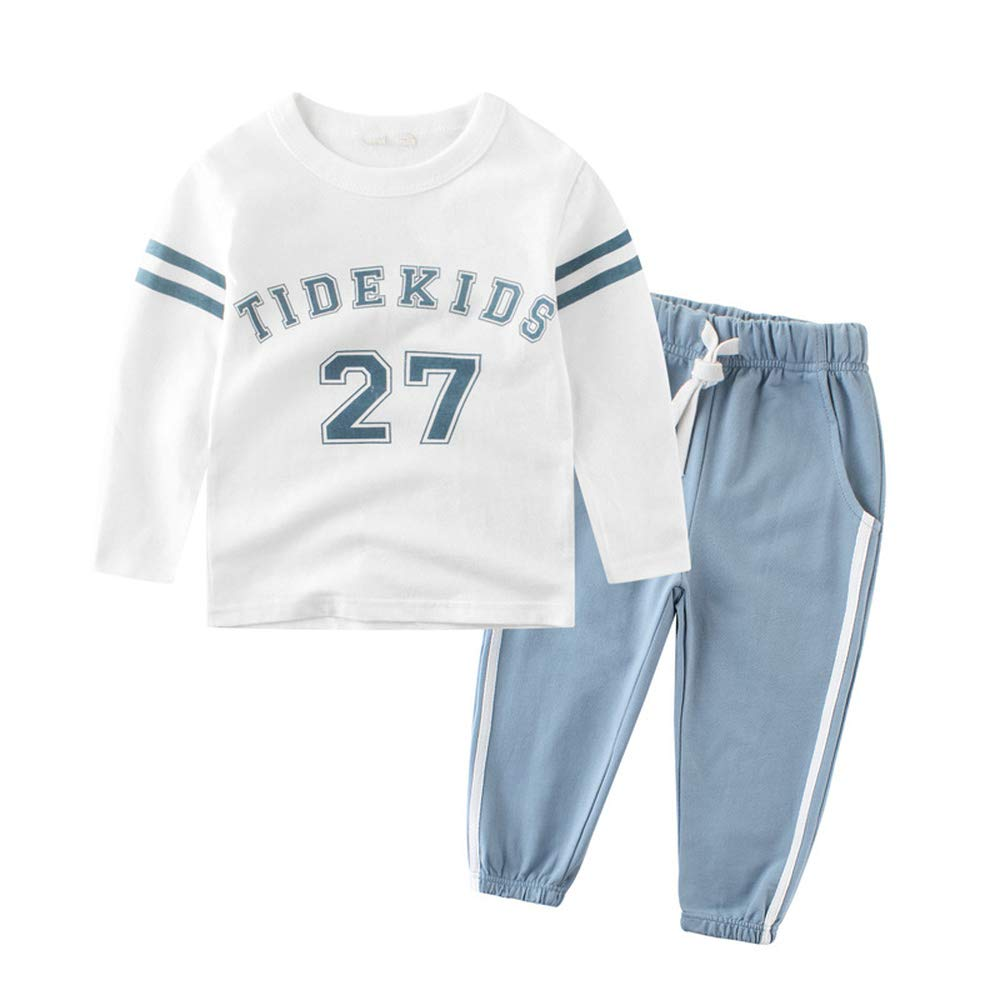 Children Clothing Kids Clothes Sports Suit for Boys and Girls Striped and Letter Printed T-shirt and Pants