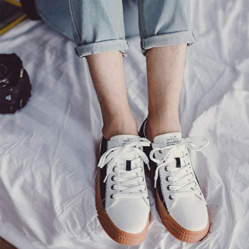 white Scarpe And White estate di tela uomo Color bordo tela tendenza scarpe WangKuanHome scarpe uomo selvatici 41 Black casual and Size scarpe traspirante di da da color Color Black 1qFwnpd