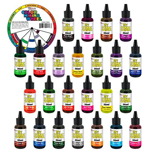 My Slime 24 Color Premium Slime Coloring Set, Large 20 ml Bottles - Non-Toxic Dyes, Works in White & Clear Slime Making Glues, Soaps - Color Mixing Wheel - Includes ()