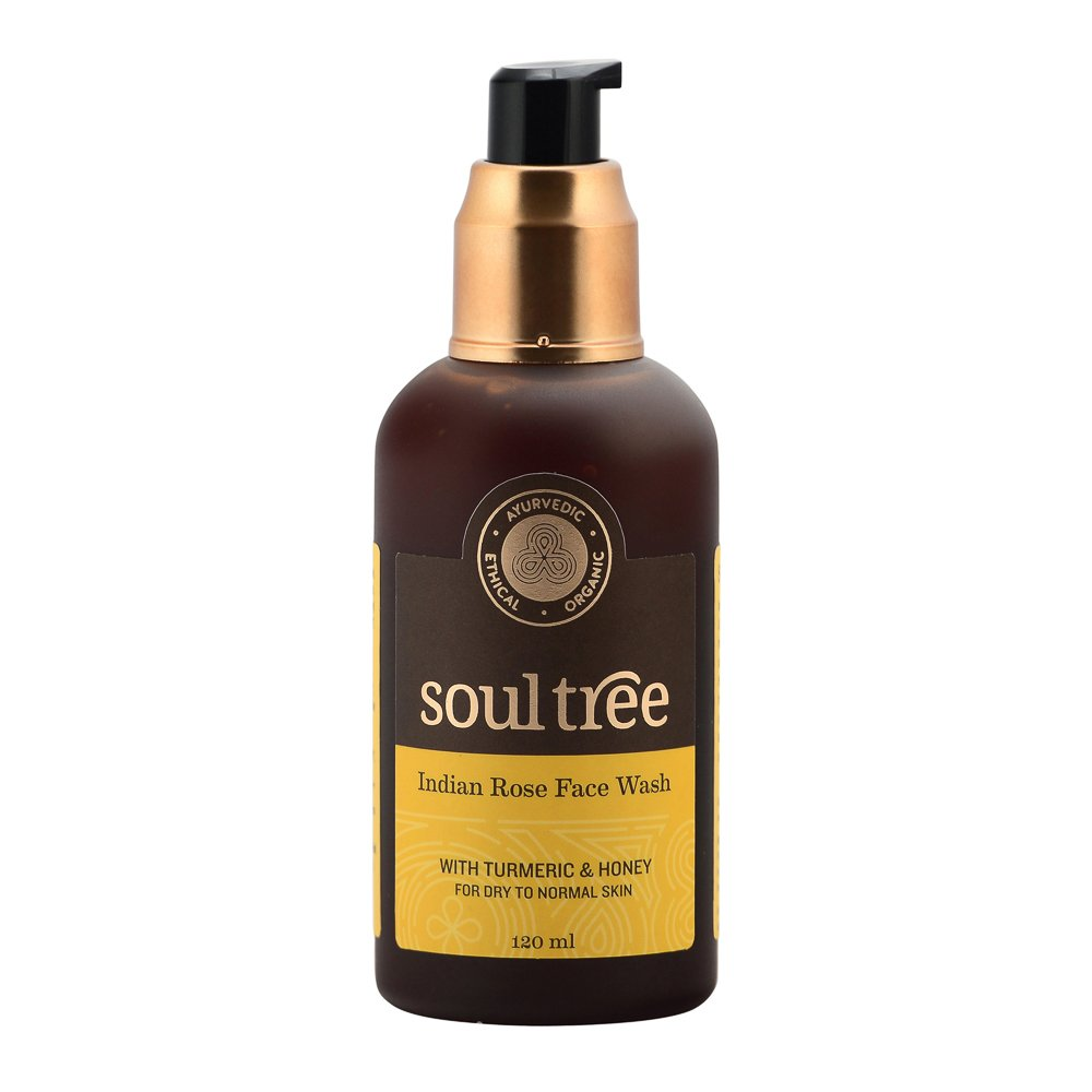 SOULTREE Ayurvedic Turmeric and Indian Rose with Forest Honey Face Wash for Dry to Normal Skin, 120ml