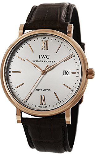 (IWC Portofino Silver Dial 18kt Rose Gold Case Brown Leather Strap Automatic Mens Watch 3565-04 )