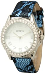 Women's Geneva Classic Lace Watch With Black Lace Band - Blue