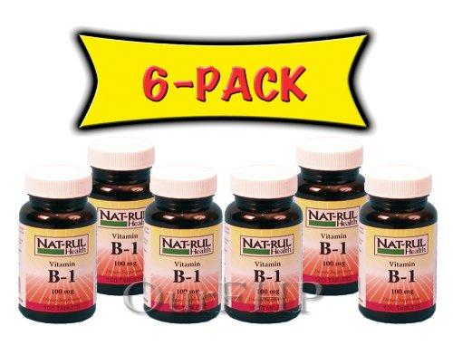 NAT-RUL Vitamin B1 100mg, 100 Tablets (6 Pack)