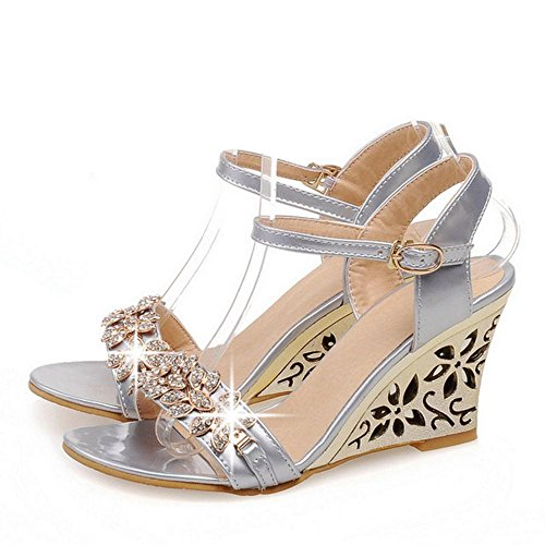 Women Wedge Heel TAOFFEN Sandals Silver dw5qXYC
