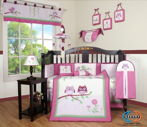 (Boutique Pink Entranced Forest 13pcs Crib Bedding Sets)