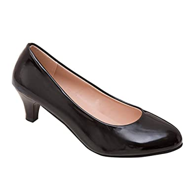 5486f841b5 uirend Classic Court Shoes Pumps Women - Womens Patent Leather Ladies Mid  Kitten Heel Court Shoes