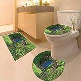 Printsonne Toilet Carpet Floor mat Hobbit Land House in Magical Overhill Woods Movie Scene Image New Zealand Green Non-Slip Soft Absorbent Bath Rug