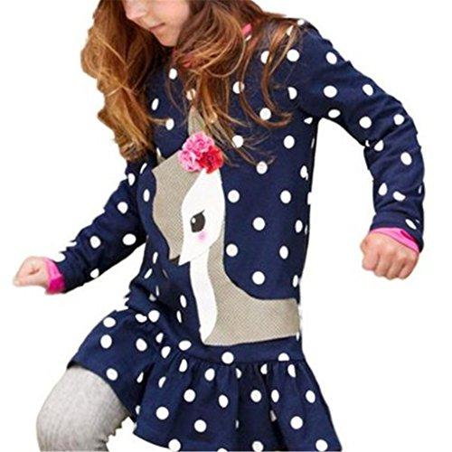 haoricu Girl Dress, Fall Autumn Toddler Baby Girls Cute Deer Print Long Sleeve T Shirt Dress for Kids Tops (Size:5T, Dark Blue)