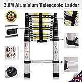 Aluminium Telescopic Ladders Multi-Purpose Foldable Extension Building Ladder With Safety Lock Anti-Slip Rubber (3.8M)