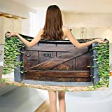 Rustic Bath Towel Small Spanish Style Dark Stained Wood Door Secret Garden with Grated Window Picture Bathroom Towels Brown Green Size: W 27.5'' x L 67''