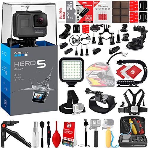 GoPro HERO5 Black 4K 12MP Digital Camcorder w/ 32GB - 40PC Sports Action Bundle (32GB Micro SD Card, Suction Cup Window Mount, High Power LED Light, X-Grip Stabilizing Handle & More)