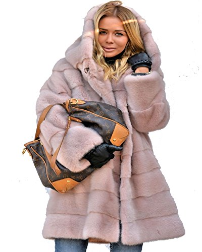 Roiii Womens Winter Luxury Outerwear Long Sleeve Faux Mink Faux Fur Plus Size Hooded Coat (L, Pink) ()