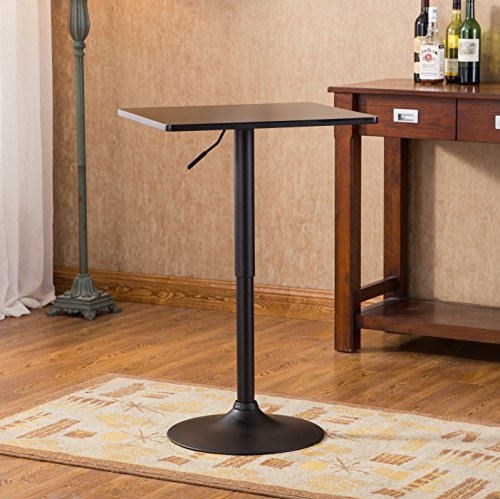 Roundhill Furniture Belham Square Top Adjustable Height with Black Leg and Base Metal Bar Table by Roundhill Furniture