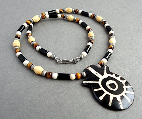 Tribal Style Necklace for Men and Women - Handmade with (Natural White Wood Tube Necklace)