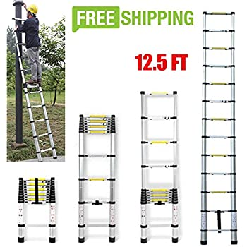 DICN 12.5FT Extendable Ladder Telescopic Folding Compact Light Weight Portable Aluminum Max. 330lb Load for Loft Attic Builder Supply Home Office Multi-Purpose Stepladder